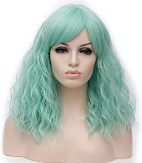 """BERON 18"""" Women Girls' Lovely Middle Length Curly Wig with Bangs Synthetic Wavy Wigs for Daily Use Halloween Cosplay Party (Mint Green)"""