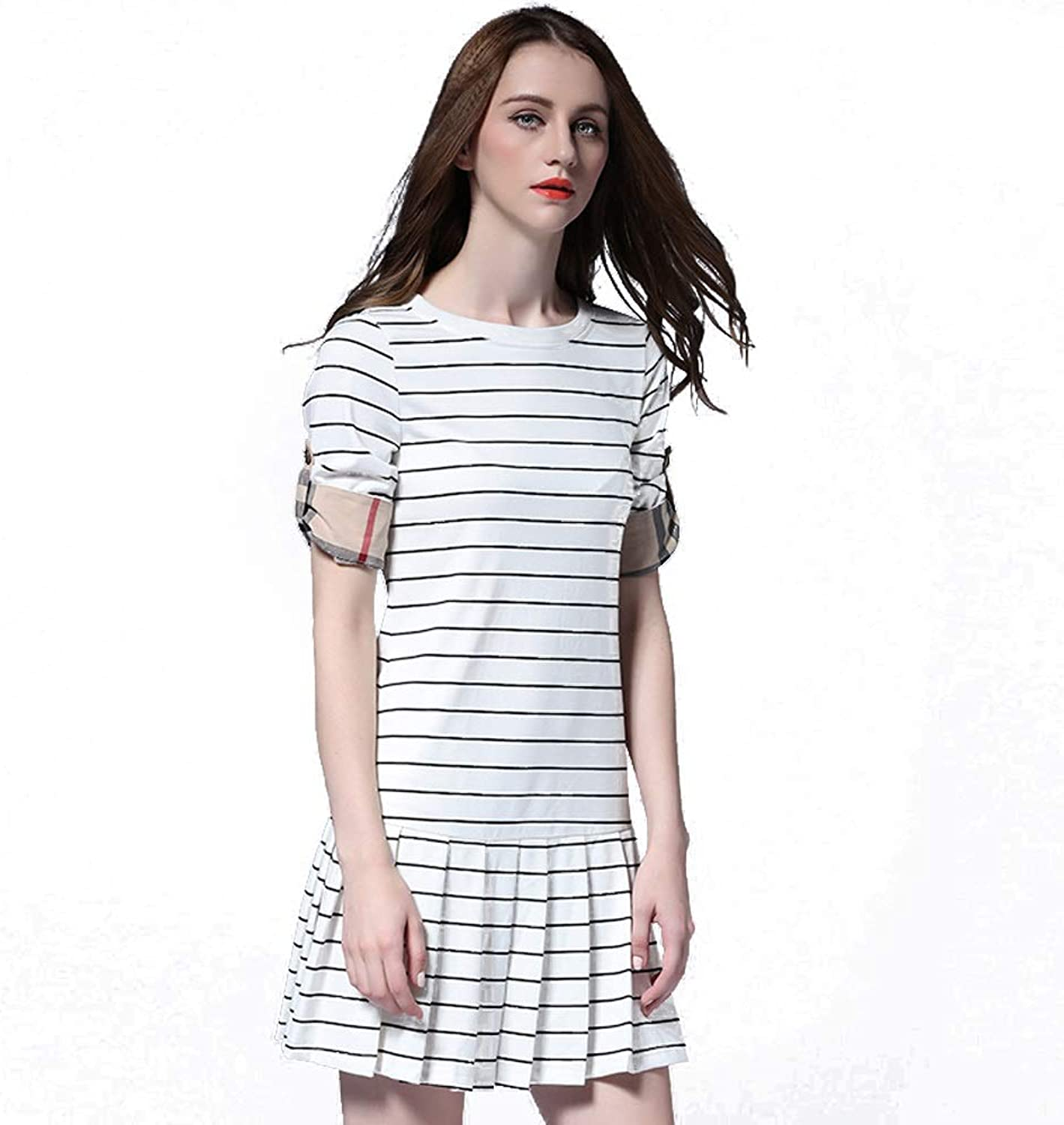 Casual Dress Sexy Summer Pleated Skirt Women's Slim Slim Striped Dress Night Out & Cocktail Dress (color   White, Size   XXL)