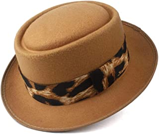 WUNONG-AU Men's and Women's Flat Top Cap Fedora Ms. Fascinator Casual Wild Style British Style Top Hat Fedora Hat Gentleman Daddy Church Hat (Color : Khaki, Size : 58)