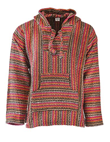 Funny Guy Mugs Premium Baja Hoodie Sweatshirt Pullover Jerga Poncho (Hot Lava, Large)