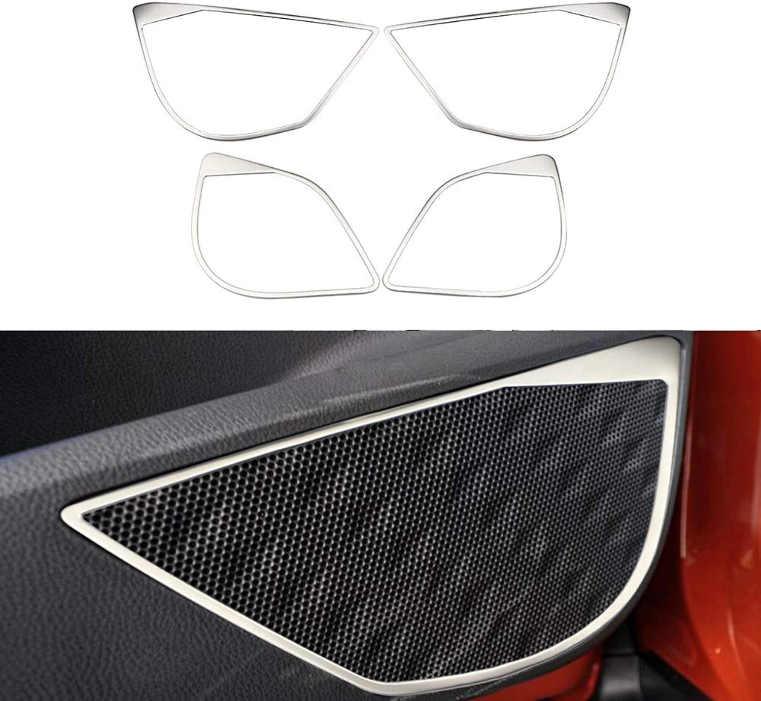 Auto Stainless Steel Car Interior Door Stereo Speaker Ring Doors Audio Stickers for Toyota CHR CHR 20162018 Accessories