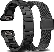 OTOPO for Fenix 5X/5X Plus Bands & Fenix 6X/6X Pro Bands, 26mm Quick Release Easy Fit Solid Stainless Steel Metal Replacement Band Compatible with Garmin Fenix 5X/5X Plus/3/3HR Smartwatch (Black)