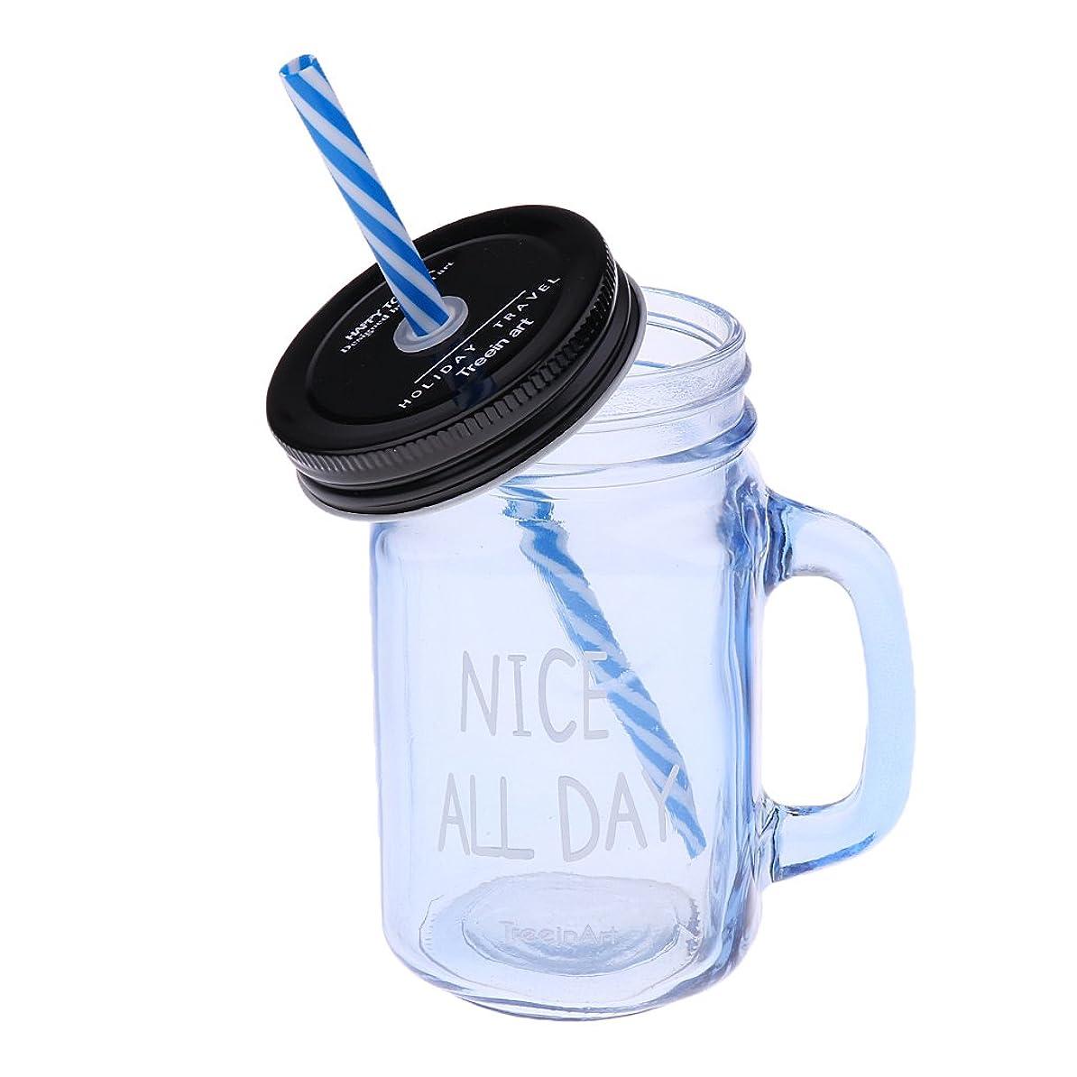 心理的に滑りやすいシンボルFenteer ストローカップ 480ml ガラス瓶 蓋付き カクテル レモン ジュース ドリンク 4色  - ジェムブルー