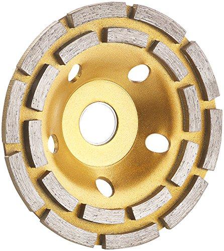 AGT NX-5847 Professional Topfscheibe: Diamant-Schleiftopf für Winkelschleifer, 2-fache Ringanordnung, 125 mm (Schleifteller), gold