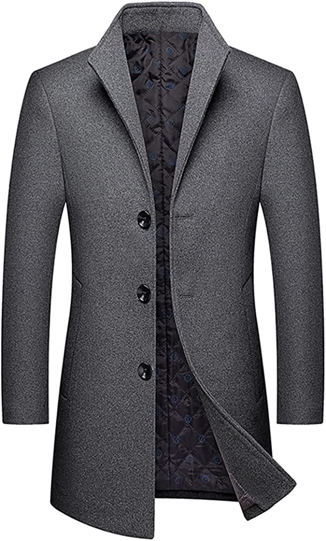 Men's Casual Boutique Long Wool Coat / Male Solid Color Lapel Single Breasted Trench Blends Jacket Windbreaker