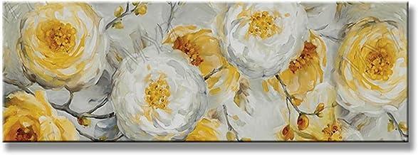 Handgeschilderd Olieverfschilderij - Moderne Mode Handgeschilderde Abstracte Witte Bloemen Landschap Olieverfschilderij Op...