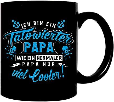 Preisvergleich für Kaffeetasse schwarz 300ml große Tasse bedruckt mit Spruch Tätowierter Papa