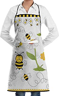 KasaBlaro Cooking Kitchen Aprons Flying Bees Daisy Honey Printed Chef Apron Bib Aprons with Pockets for Women and Men Chef - Waterpoof