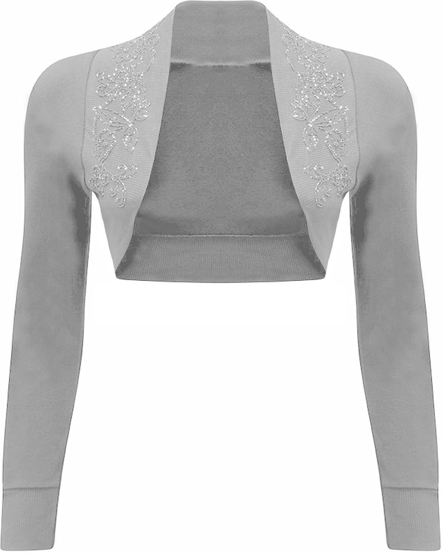 GirlsWalk Women's Plain Long Sleeves Beaded Bolero Shrug Top