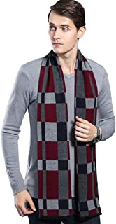 G Lake Men's Winter Cashmere Scarf Plaid Stripes Warm Soft Scarves with Tassel