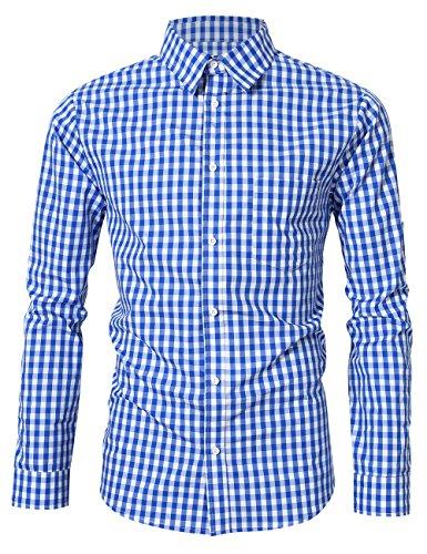 KOJOOIN Herren Trachtenhemd Slim fit kariert Langarmhemd Bestickt Baumwolle- (Verpackung MEHRWEG), Blau-2019, Gr.- L / 38