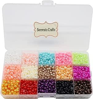 3300pcs 6mm Mixed 15 Colors Half Pearl Bead Flat Back Gem Plastic Box 1box