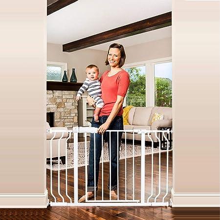 エルフ ベビー(Fairy Baby) ベビーゲート 階段上 ペットゲート ベビーフェンス 突っ張り式 オートクローズ機能 ビデオ付き 扉開閉式 赤ちゃん ゲート ベビーガード 柵 拡張付き 高さ78cm 対象6~36ヶ月 (取付幅98-110cm ホワイト)