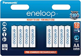 Panasonic eneloop, NiMH-accu gereed voor gebruik, AA mignon, verpakking van 8, 1900 mAh, 2100 laadcycli, met hoog vermogen...