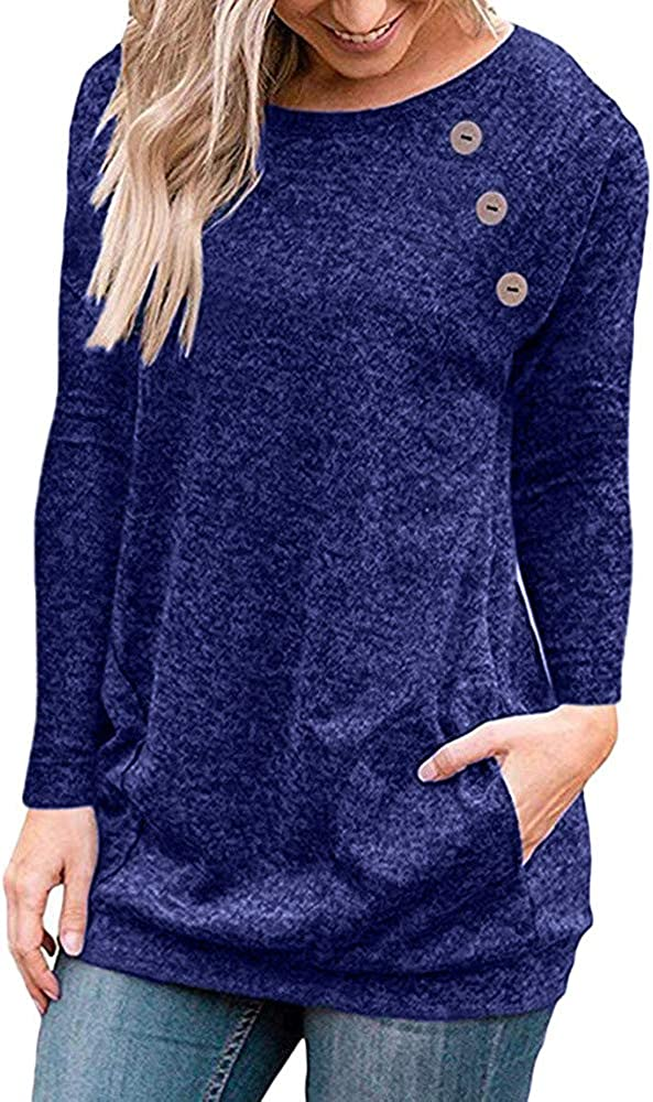 Mikey Store Women Daily Mother Gift Comfortable Home Stitching Pocket Long Sleeve Flowy Tunic Shirt Tops Blouse