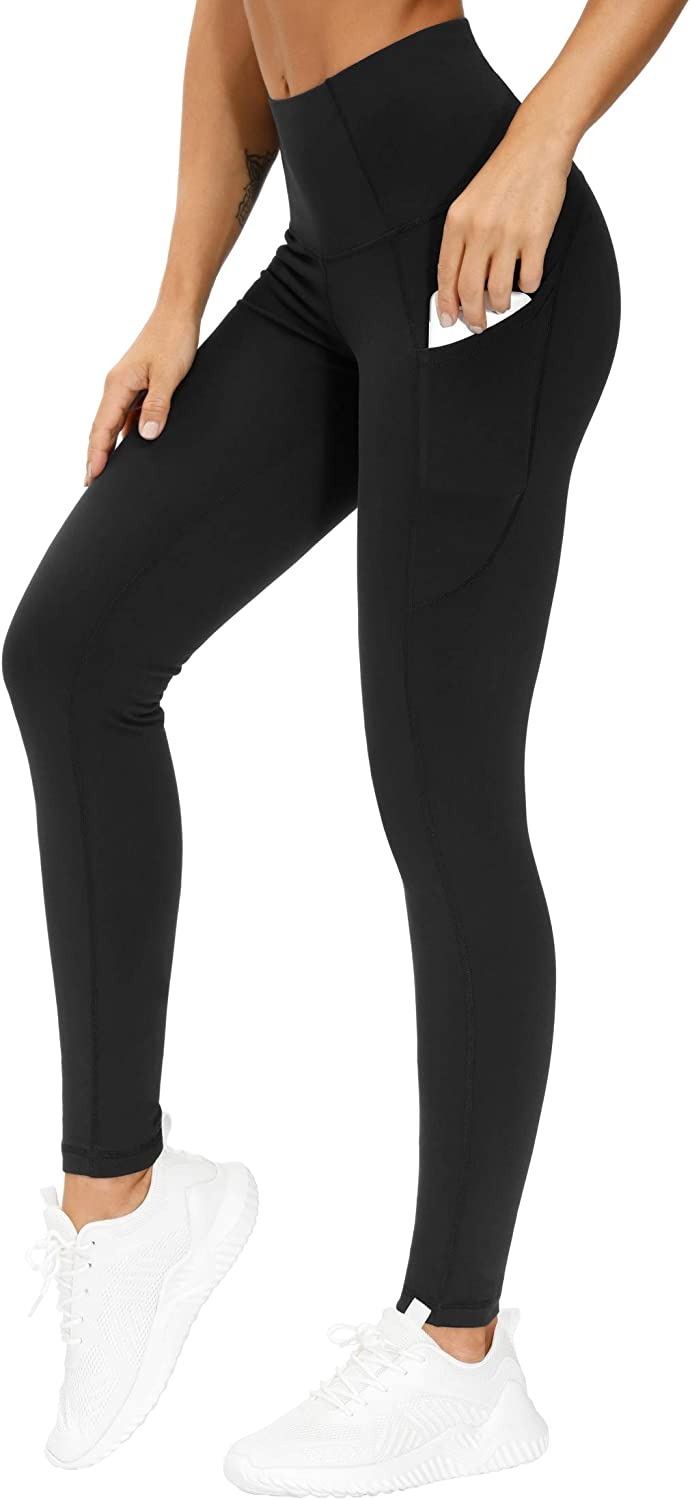 THE GYM PEOPLE Thick High Waist Yoga Pants with Pockets, Tummy Control Workout Running Yoga Leggings for Women : Sports & Outdoors