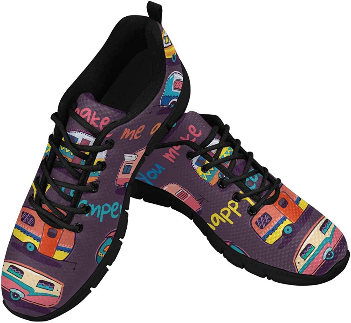InterestPrint You Make Me a Happy Camper Women's Walking Shoes Lightweight Casual Running Sneakers