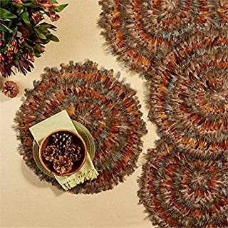 Two's Company Set of 6 Pheasant Park Round Decorative Mats