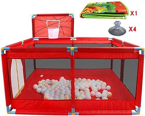 LYQZ Playpens 8 Panel, gefaltetes Baby mit Basketballkorb und Bodenmatte Kind Jungen mädchen Spielen Stifüraumteiler Oxford Tuch
