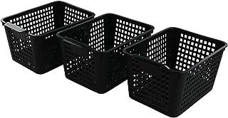 Bblie Lot de 6 Paniers de Rangement En Plastique, Noir Panier de Stockage, Panier Plastique Rectangulaire