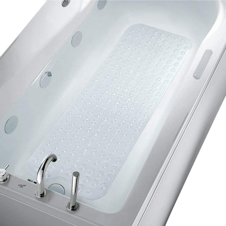 MKUTO バスタブマット お風呂 浴槽マット 滑り止め 転倒防止 介護用 すべり止めマット 吸盤付き 100×40cm(クリア)