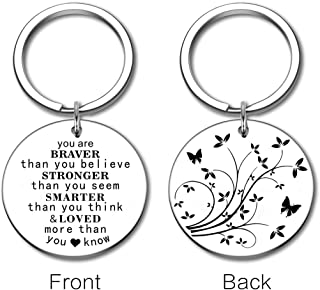 Inspirational Encouragement Keychain Graduation Family Gifts for Son Daughter You are Braver Than You Believe Stronger Keyring Personalized Key Dog Tags Women Men