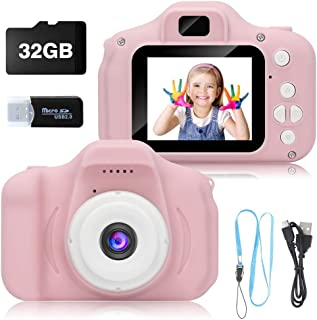 NEZA Kids Digital Camera for Girls,Best Birthday Gifts for 3-8 Year Olds Girls ,Toys for Girls Age 4 5 6 7 8,Kids Video Camera Recorder Rechargeable Camera Shockproof 8MP HD Toddler Cameras ( 32GB )