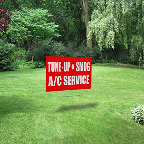 Fastasticdeals Weatherproof Yard Sign Tune-Up Smog A C Service Business Red Lawn Garden Ac Furnace 24x18 Inches 1 Side Print