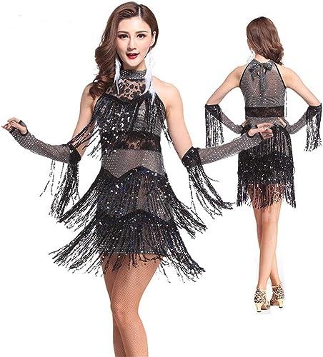 SUPRIEE Costume Latin, Femmes Dancewear sans Manches Halter Neck Sequin Fbaguee Glands Salle De Bal Samba Tango Robe De Danse Latine avec des Manches à La Main Compétition Costumes pour Les Femmes