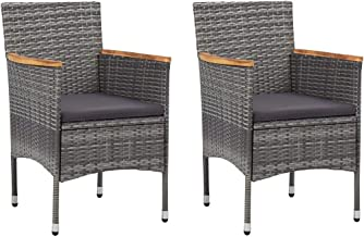 vidaXL 2x Garden Dining Chairs Poly Rattan Weather Resistant Padded Lounge Seat Outdoor Armchair Porch Seating Patio Furni...