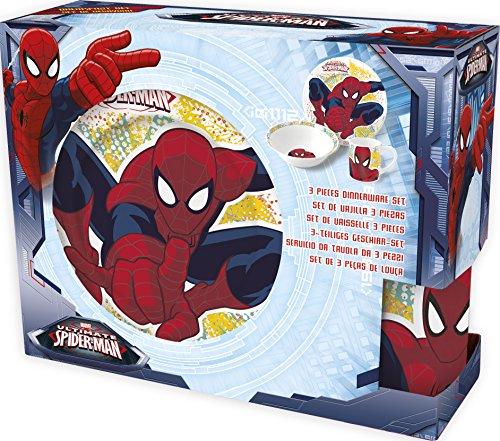 Boyztoys Hasbro-Personaggio Giocattolo di Spider-Man per Bambini, 3 Pezzi, Set da Servizio, in Ceramica, Composto da Piatto, Ciotola e Tazza