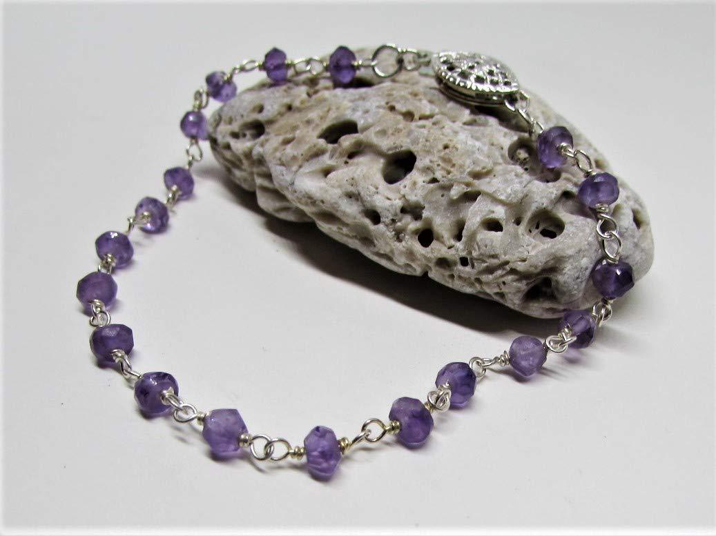 Amethyst Popular Gemstone Crystal Bracelet- February Cheap SALE Start Sterling Silver- Bi