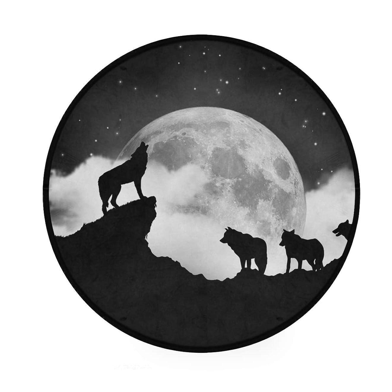 マーティフィールディングモンゴメリー言い訳カオリヤ フロアマット オオカミ柄 狼柄 直径92cm 円形 ブラック センターラグ 床マット チェアマット インテリアマット 滑り止め 室内