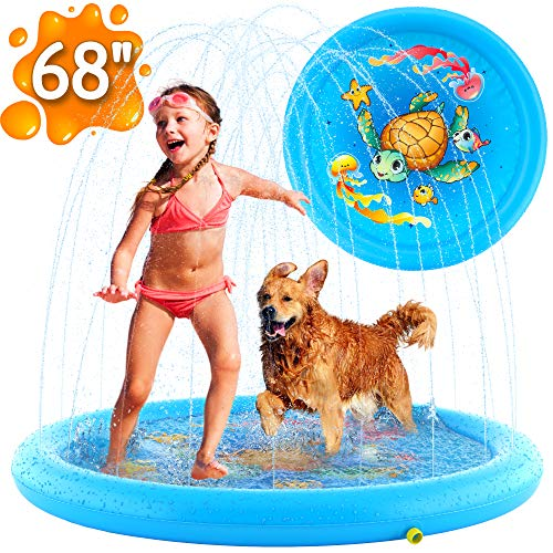 "(68"") Inflatable Splash Pad Sprinkler for Kids Toddlers, Kiddie Baby Pool, Outdoor Games Water Mat Toys - Baby Infant Wadin Swimming Pool - Fun Backyard Fountain Play Mat for 1 -12 Year Old Girls Boys"