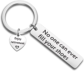 WUSUANED Retirement Keychain No One Can Ever Fill Your Shoes Enjoy Retirement Gift For Coworker Dad