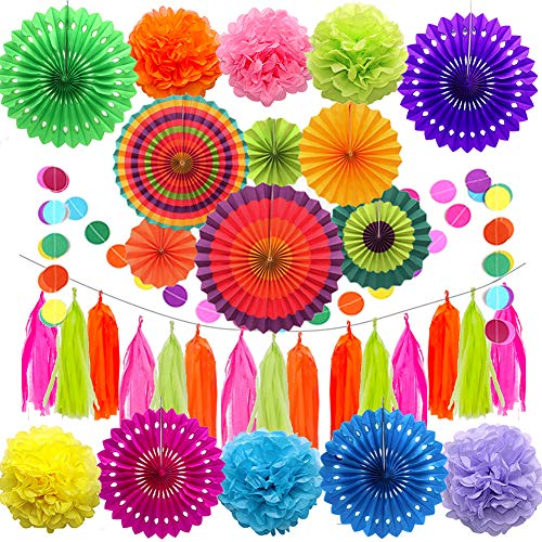 FOVERN1 32 Pieces Party Decoration Include Paper Fans, Tissue Paper Pom Poms, Circle Dot Garland and Tissue Paper Tassel for Birthday Wedding Baby Shower Events Accessories