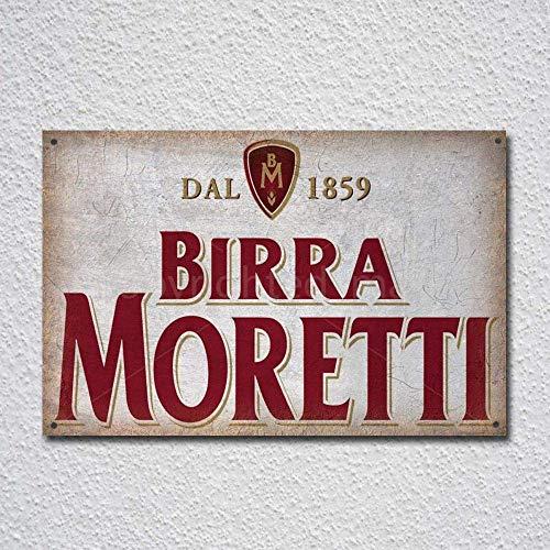 Letrero de metal con diseño de cerveza italiana Birra Moretti 17,8 x...