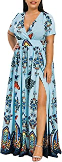Musommer Summer Plus Size Fashion Casual Women Butterfly Printed V-Neck Short Sleeve Casual Long Dress