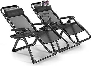 eChamp Oversized Zero Gravity Lounge Chair Set of 2 Adjustable Recliner Chair Outdoor Indoor Travel - Easy to Carry (Black)