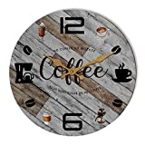 Rustic Kitchen Wall Clock Wooden Office Coffee Decor Wall Clocks 12 inches Silent Clocks for Kitchen / Office / Coffee Corner /Cafe Shop Decoration