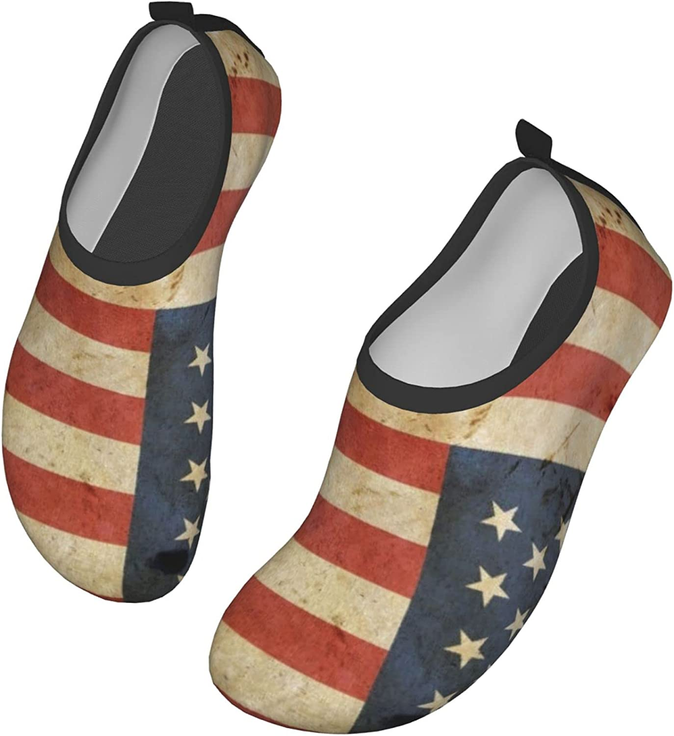 Old Vintage American Us Flag Womens and Mens Water Shoes Barefoot Quick-Dry Aqua Socks Slip-On for Outdoor Beach Swim Yoga