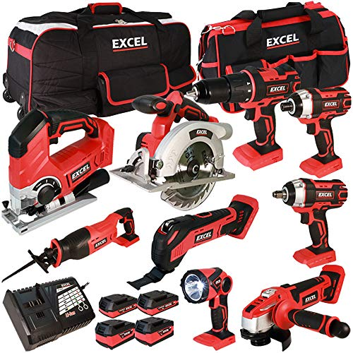 Excel 18V Cordless 9 Piece Tool Kit with 4 x Batteries & Smart Charger in Bag EXL5153