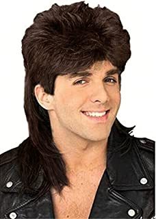 Diy-Wig Stylish Mens Retro 70s 80s Disco Mullet Wig Fancy Party Halloween Wig Accessory Cosplay Wig (Brown)