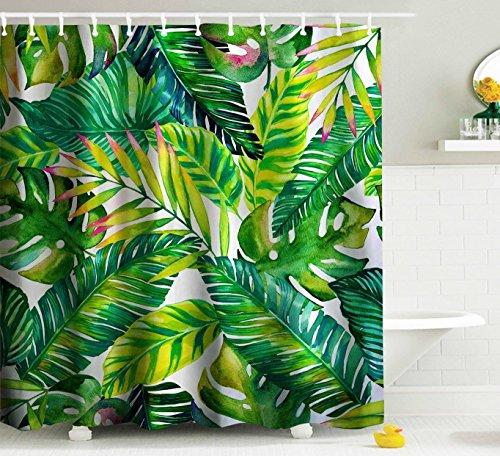 Duschvorhang Schimmelresistent Wasserdicht Duschvorhang Set mit Haken Badezimmer Zubehör Blatt Druck Größe 167,6cm (W) X 182,9cm (H)