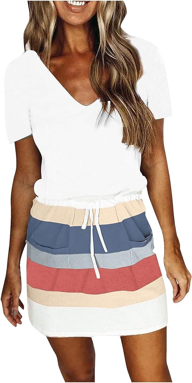 MOOKO Women T Shirt Dresses Summer Casual Beach Plus Size Short Sleeve Sundress Casual Loose Swing Dress with Pockets