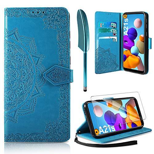 AROYI Lederhülle kompatibel mit Samsung Galaxy A21s Hülle & Schutzfolie, Flip Handyhülle PU Leder Hülle Tasche Schutzhülle Magnetverschluss Flip Wallet (Blau)