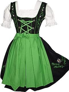 3-Piece German Oktoberfest Dirndl Dress, Black and Green