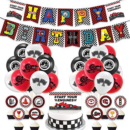 カーズ 誕生日 飾り付け パーティー セット 車 キャラクター ディズニー 男の子 2 子供 レッド ブラック ホワイト happy birthday ガーランド バナー バルーン 風船 ケーキトッパー リボン 38枚セット
