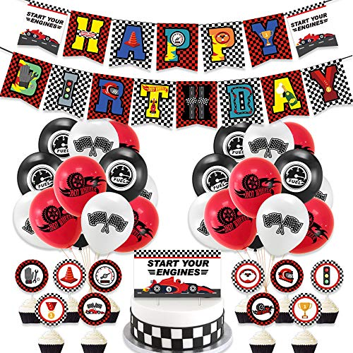 NOA Racings Car Themed Party Decorations Set 38Pcs Cartoon Party Supplies with Happy Birthday Banner Balloons Ribbons and Cake Toppers for Boys Kids Gift