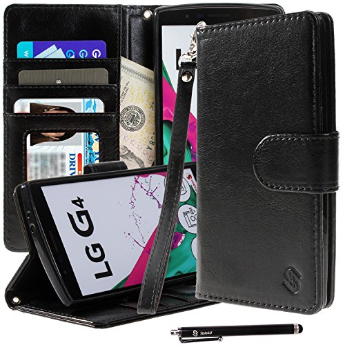 LG G4 Case, Style4U Premium PU Leather Stand Wallet Case with ID Credit Card/Cash Slots for LG G4 + 1 Stylus [Black]